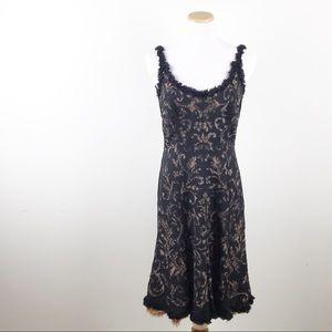 NEW Carmen Marc Valvo Black Lace Dress Size 6